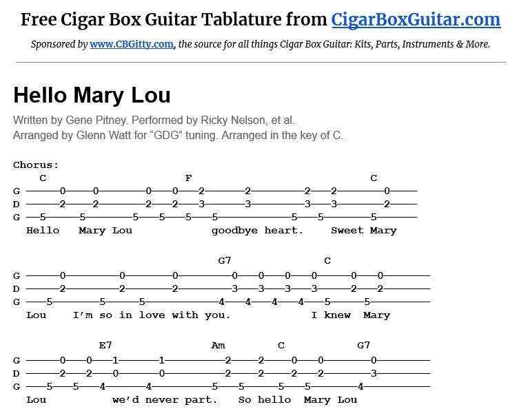 Hello Mary Lou 3-string cigar box guitar tablature
