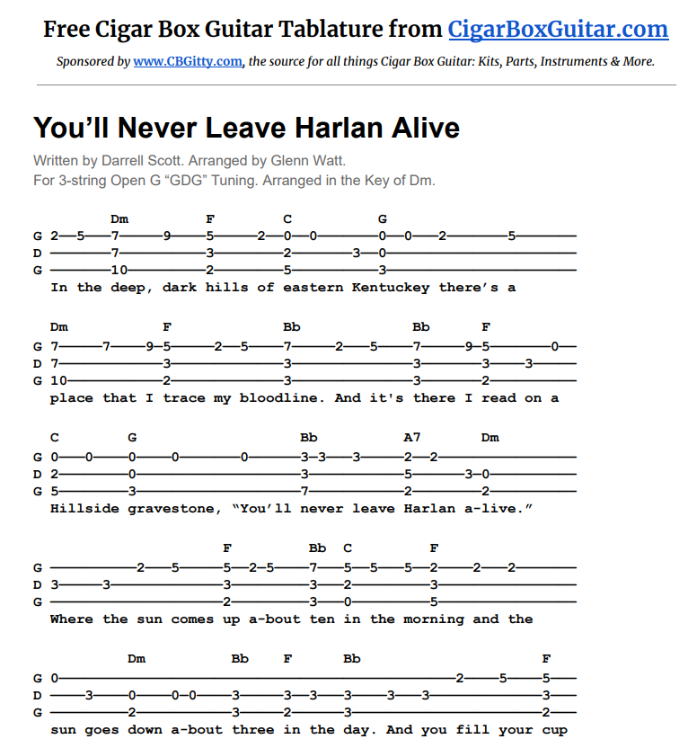 Free CBG tablature for You'll Never Leave Harlan Alive