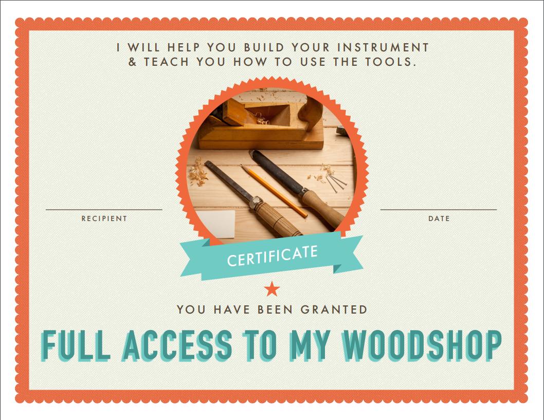 Free Woodshop Certificate