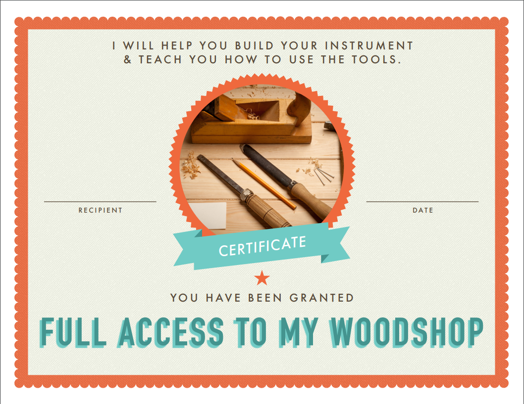 Give This Free Woodshop Certificate To A Loved One