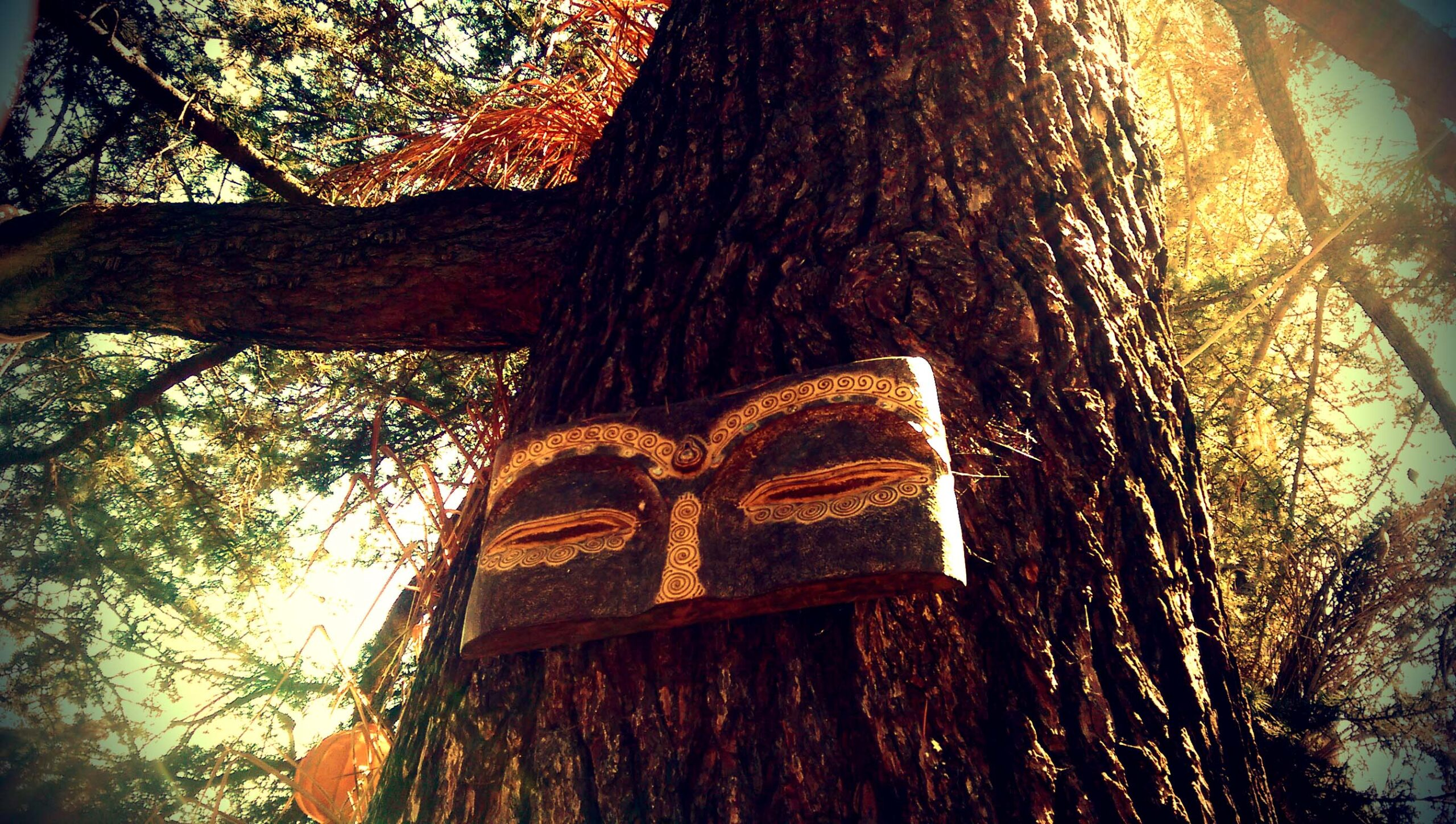 Tree with meditative mask