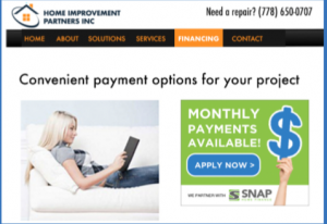 Financing page on website