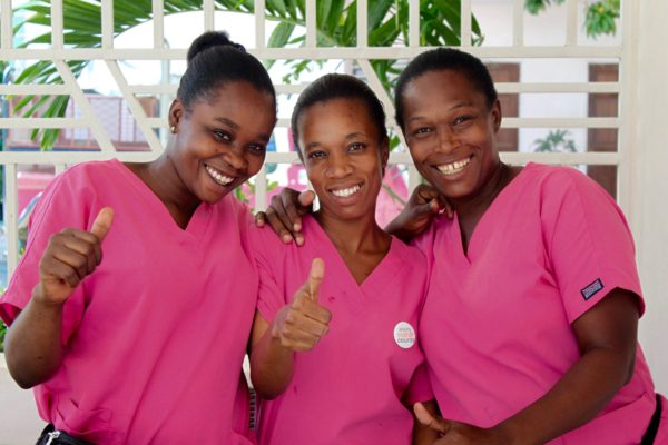class 7 pink scrubs thumbs upHaiti 2014 (1)