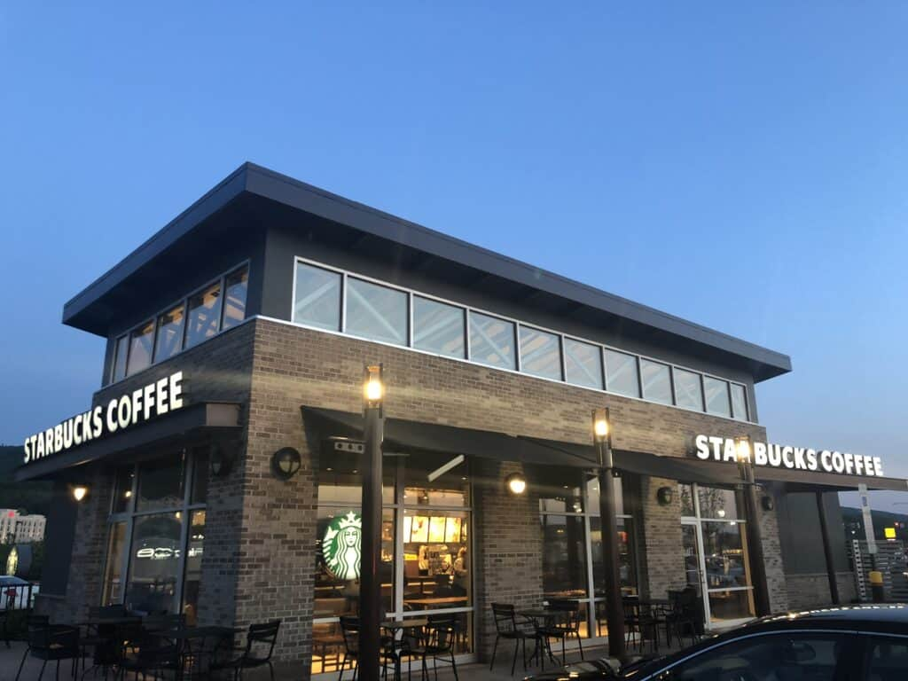 Starbucks Wilkes Barre Pa Exterior Painting done by Danbury Painting