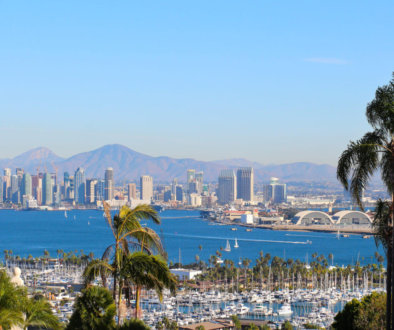 Gorgeous San Diego harbor skyline panorama during the day