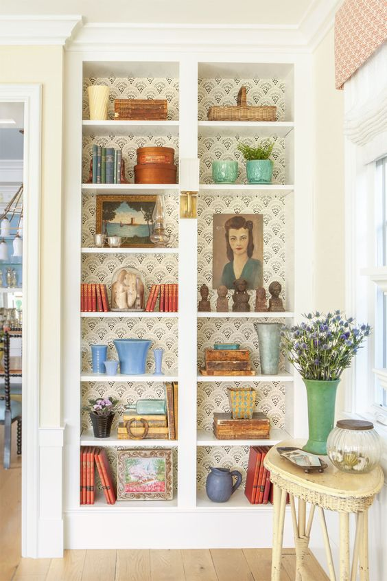 Bookcase filled with blue and green Bauer pottery | Girlfriend is Better