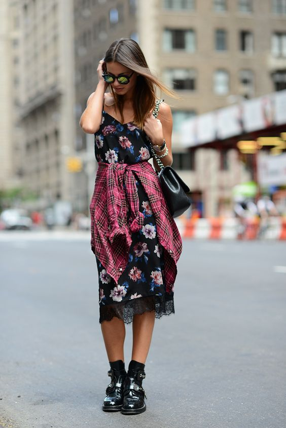 Floral slip dress | Add 90's accessories and a flannel | Girlfriend is Better