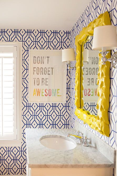 Update a bathroom with a bright colorful mirror | Girlfriend is Better