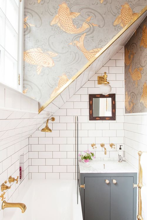 Wallpaper bathroom walls in sections | The Pink House, Edinburgh | Girlfriend is Better