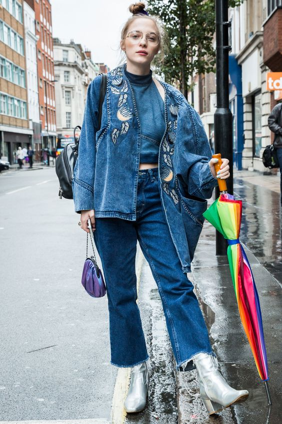 Head-to-toe denim | London Fashion Week street style Spring 2017 | Girlfriend is Better