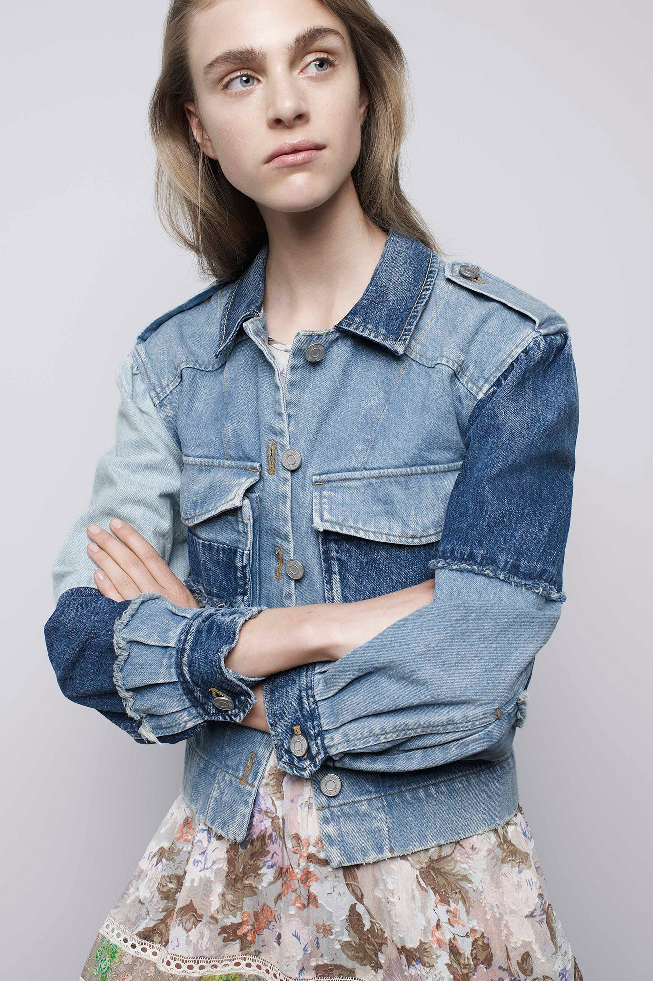 Denim jacket patchwork decontructed | Rebecca Taylor 2017 | Girlfriend is Better