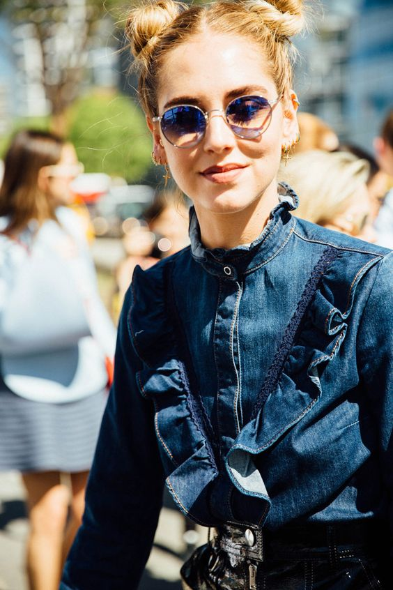 Ruffles and trim on denim | New York fashion week street style 2016 | Girlfriend is Better