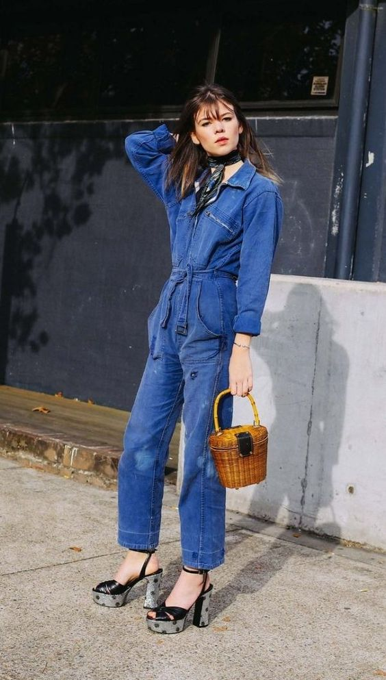 Platforms + a denim jumpsuit | Mercedes-Benz Fashion Week Australia | Girlfriend is Better