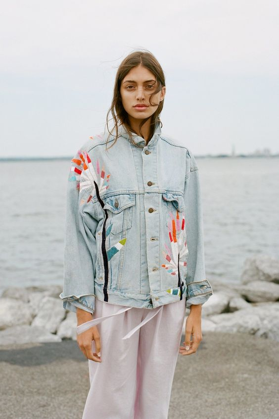 Embroidered denim jacket by Mara Hoffman | Embellished jackets | Girlfriend is Better