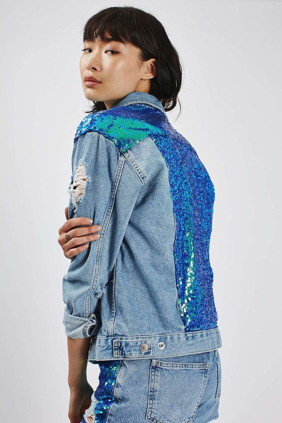 Sequins on denim | Embellished jackets | Girlfriend is Better
