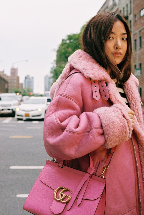 Pink fur-lined coats   Over-sized and warm!   Girlfriend is Better