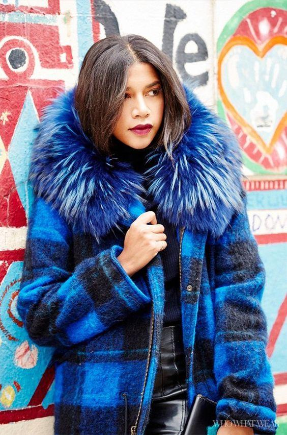 Plaid coat with fur trim   Jewel tones   Girlfriend is Better