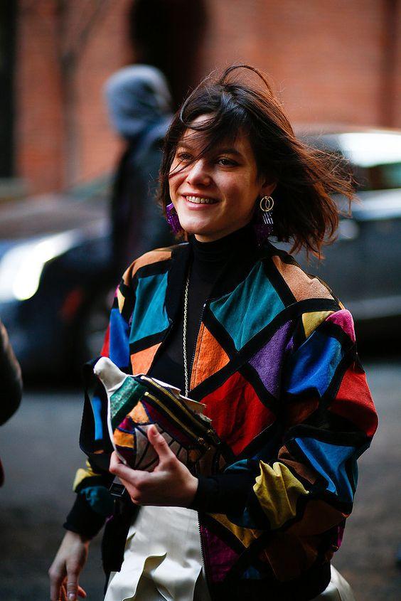 80's style jewel tones patchwork bomber jacket   Girlfriend is Better