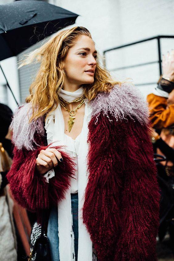Multicolored fur coat in jewel tones   Girlfriend is Better