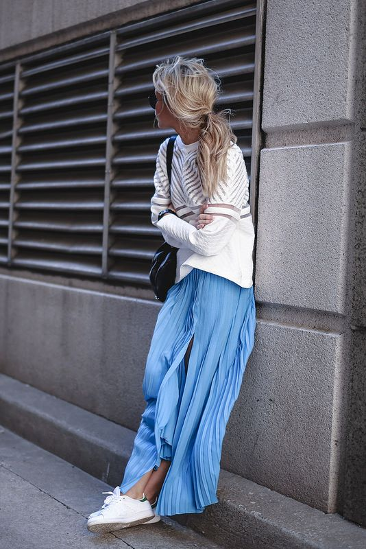 Maxi skirts paired with tennis shoes | Girlfriend is Better