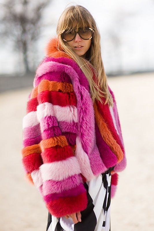 Multicolored fur coat madness | Girlfriend is Better