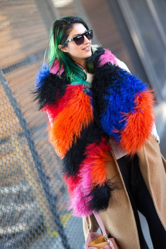 Multicolored fur coat alternative - the stole! | Girlfriend is Better