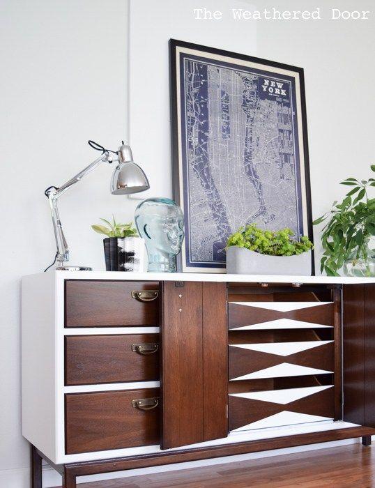 Mid-century modern dresser | Painted furniture DIY ideas | Girlfriend is Better