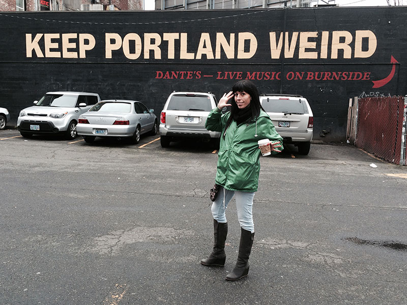 Gina Speed in front of Keep Portland Weird wall | Portland Oregon travel guide | Girlfriend is Better