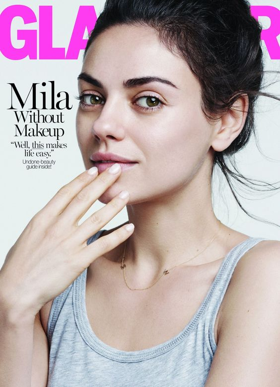 Mila Kunis make-up free Glamour cover   Retinol makes this look possible!   Girlfriend is Better