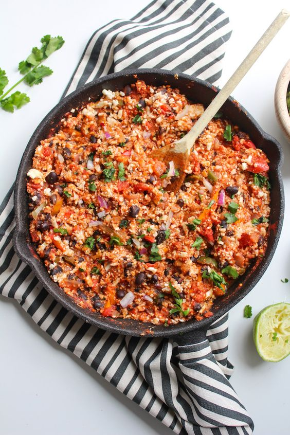 Skillet care, health + recipes | Mexican cauliflower rice | Girlfriend is Better