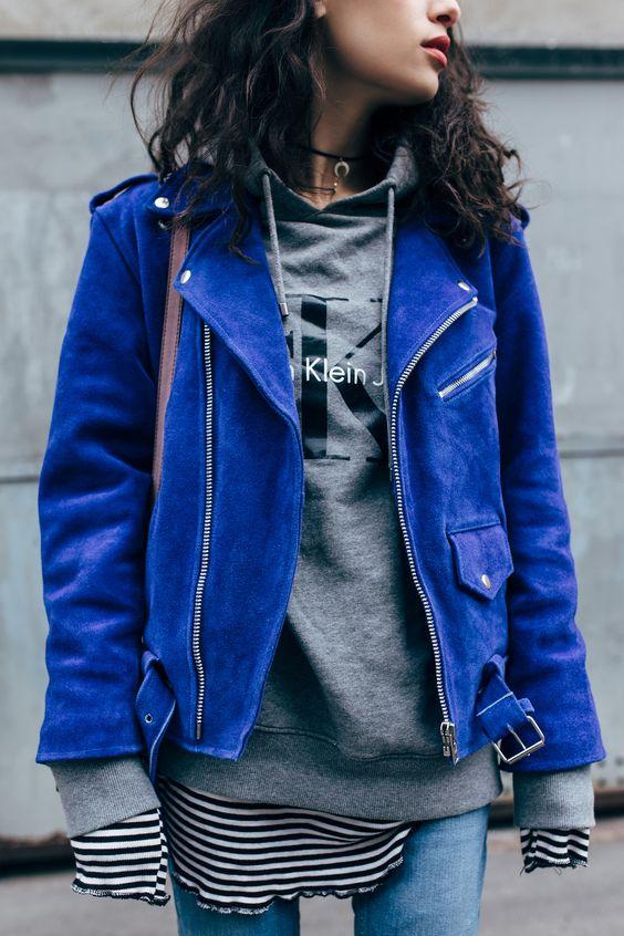 Bright blue suede jacket | Girlfriend is Better