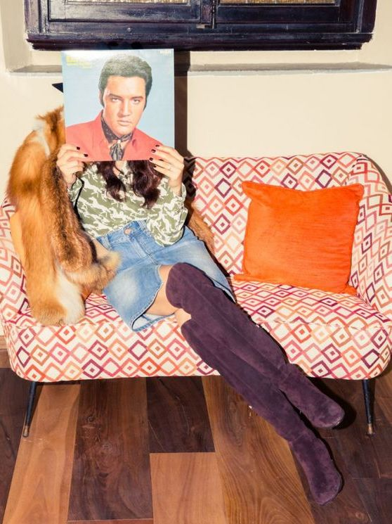 Elvis and purple suede knee-high boots   NBD   Girlfriend is Better
