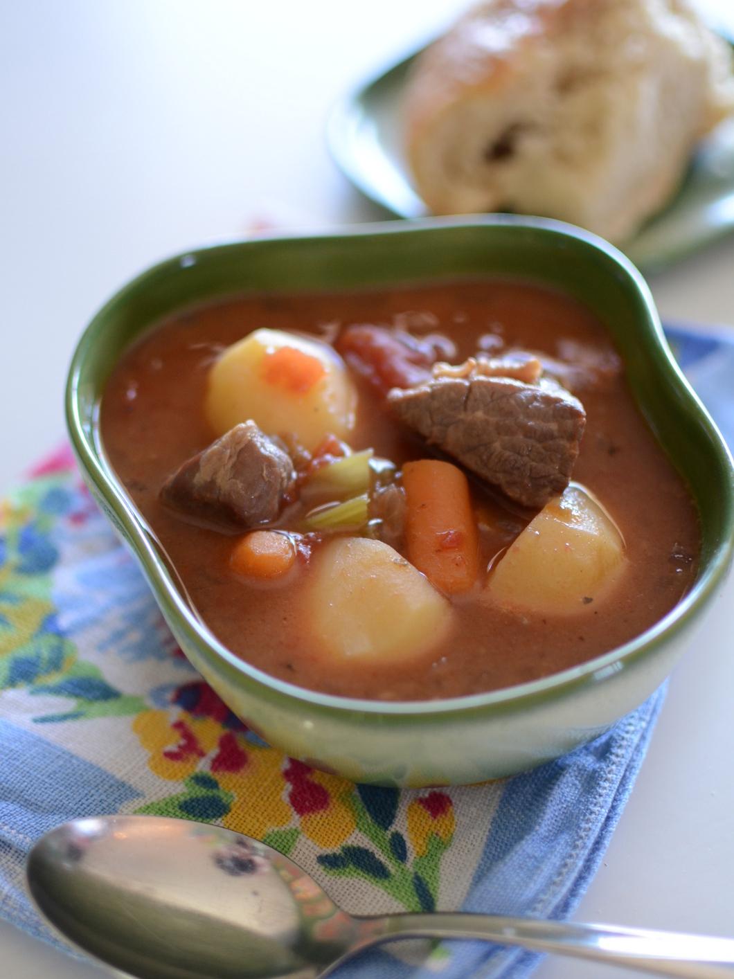 Vegetable Beef Soup slow cooker recipe | Girlfriend is Better