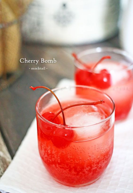 Cherry Bomb mocktail recipe | Vintage tumblers | Girlfriend is Better