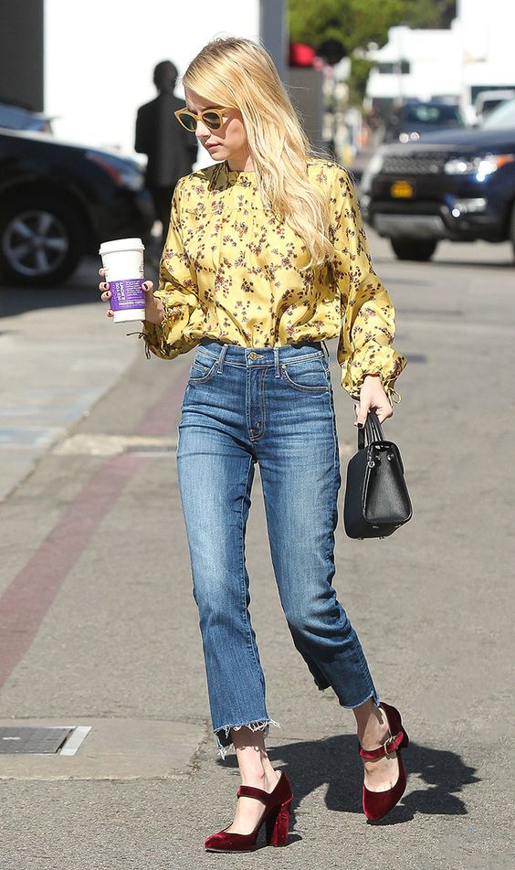 Yellow floral blouses pair perfectly with denim or chambray | Girlfriend is Better