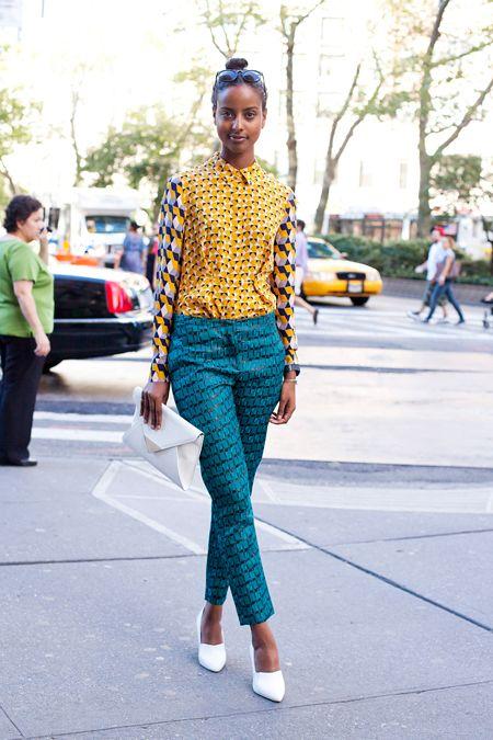 Sara Nuru NYFW in yellow mixed prints | Girlfriend is Better