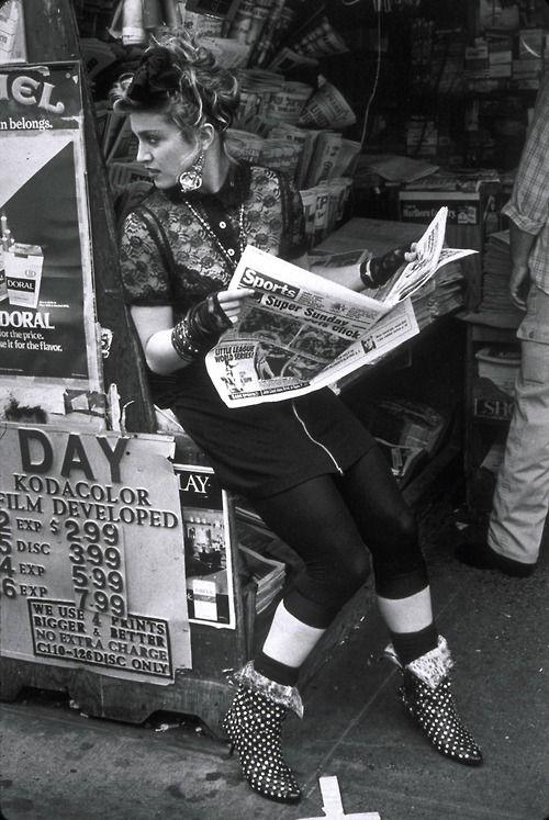 Madonna in Desperately Seeking Susan rocks kitten heel ankle boots | Girlfriend is Better