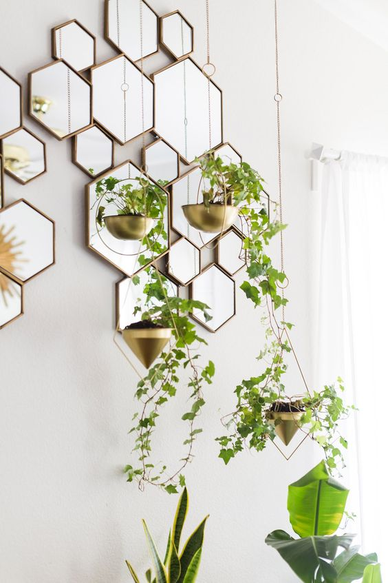 Hexagon mirrors in honeycomb design | Mid-century modern decor | Girlfriend is Better