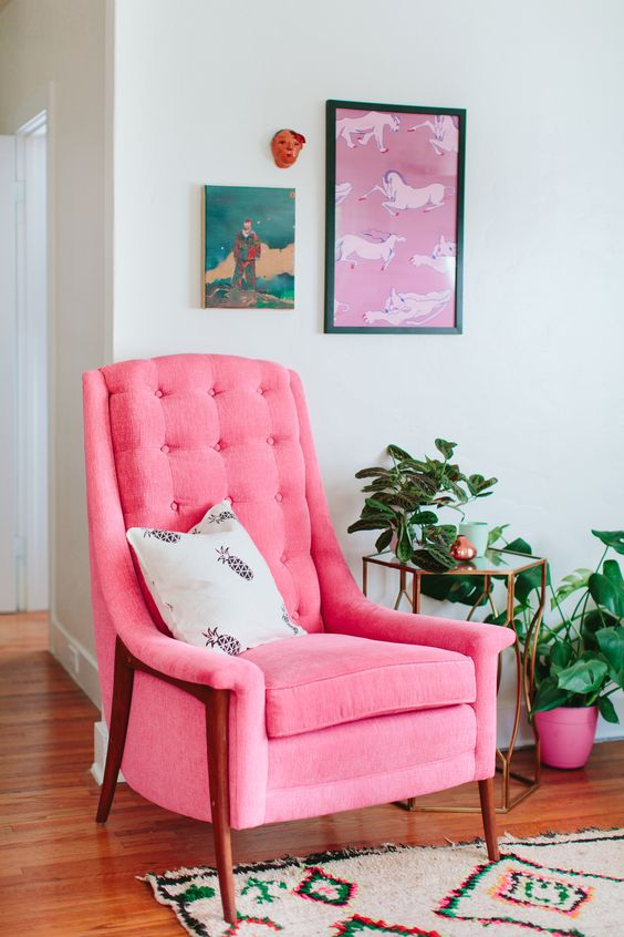 Pink mid-century modern chair perfect for love + relationships center | Feng Shui guide | Girlfriend is Better
