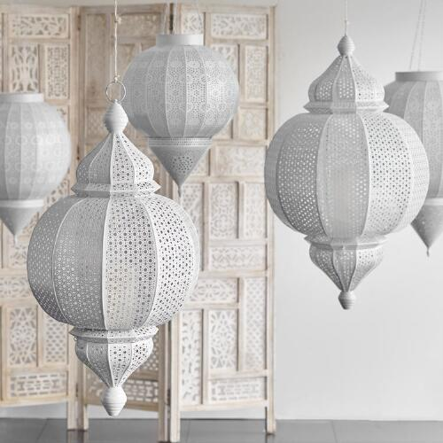 White Metal Amira Finial Hanging Lantern | Cost Plus World Market