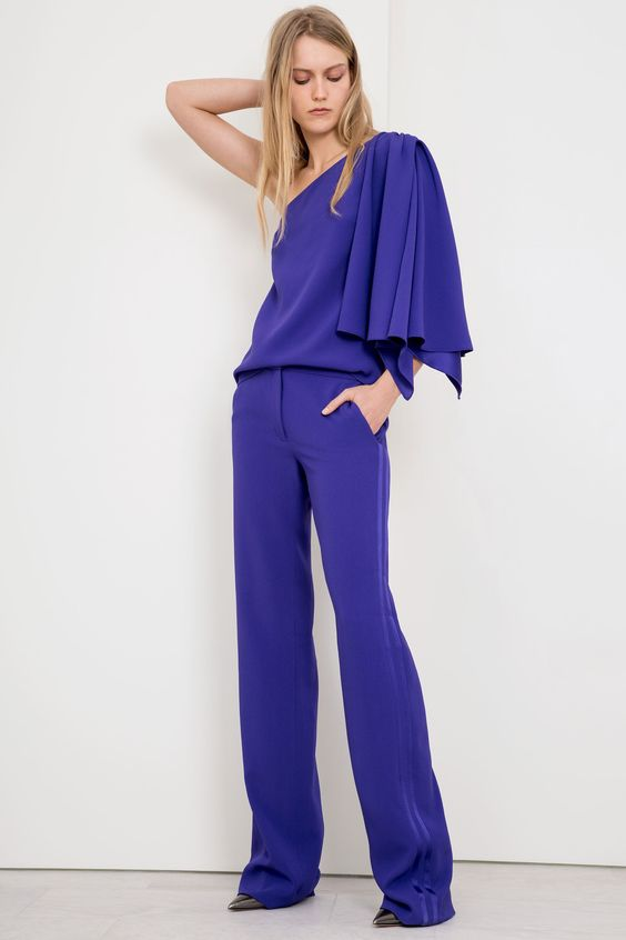 Purple off the shoulder blouse and pant combo | Jeffrey Dodd Fall 2017 Ready-to-Wear | Girlfriend is Better