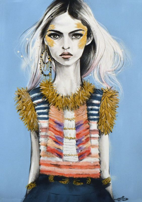 Chanel Pre-Fall 2014 by Pippa McManus | Fashion illustration favorites | Girlfriend is Better
