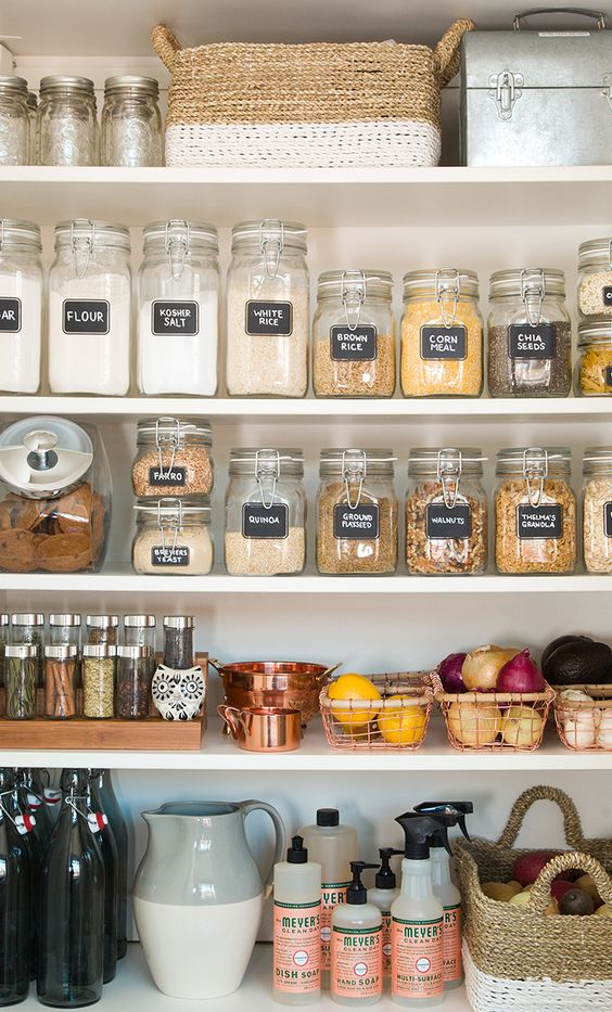 Organize a pantry with clear containers and small baskets | Girlfriend is Better