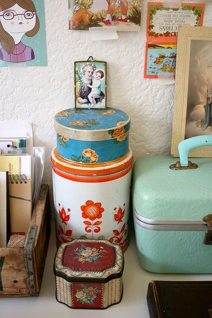 Use vintage containers to organize your desk | Girlfriend is Better