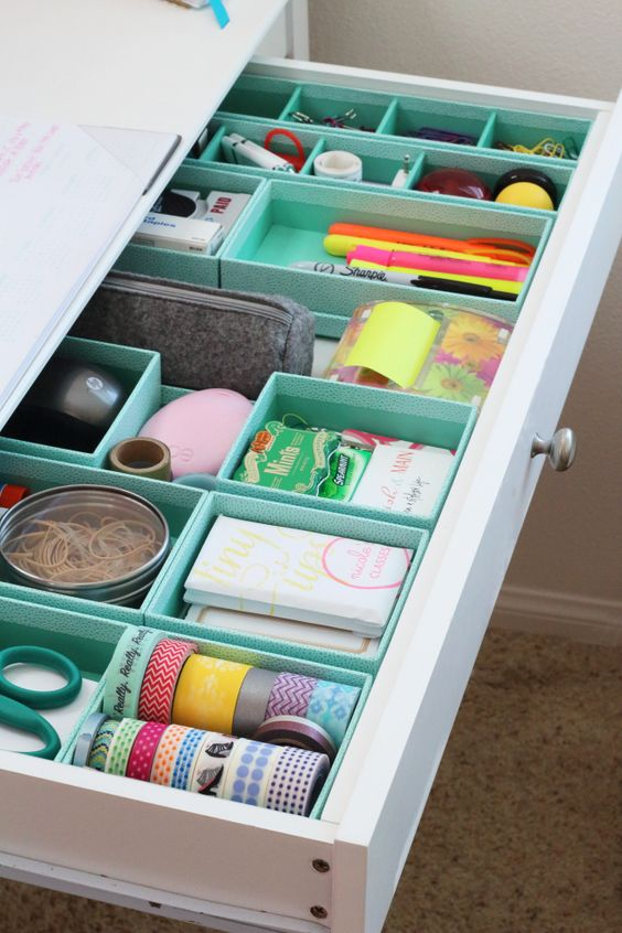 Organize a junk drawer with boxes | Girlfriend is Better