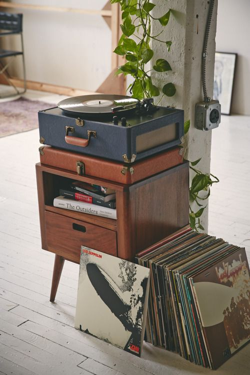 Record players on mid-century modern nightstands | Girlfriend is Better