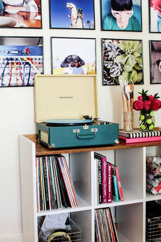 Record players with vinyls gallery walls | Girlfriend is Better