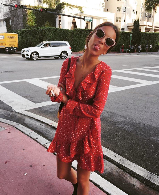 Red ruffles for a flirty spring wrap dress | Girlfriend is Better