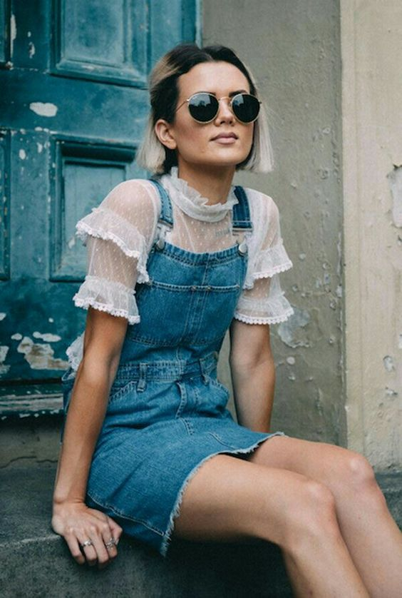 Ruffles on a sheer blouse make overalls more feminine | Girlfriend is Better