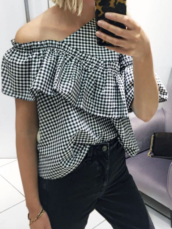 Big ruffles on an off-the-shoulder blouse | Girlfriend is Better
